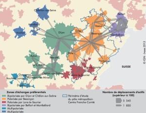 Carte établie par l'Insee Franche-Comté. L'Essentiel n° 143, février 2013. Le Pôle métroplitain Centre-Franche-Comté.
