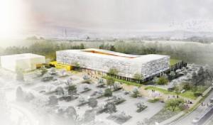 20 000 m2 sur trois niveaux, le rez-de-chaussée étant réservé aux soins ambulatoires. Esquisse : AIA Architectes.