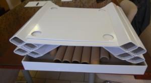 Éléments décomposés d'un mobilier Cart'innov.
