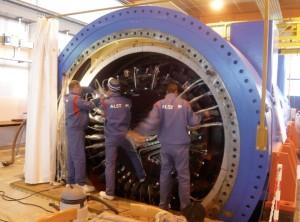 Dans les ateliers d'Alstom Power à Belfort. Photo : Traces Ecrites.