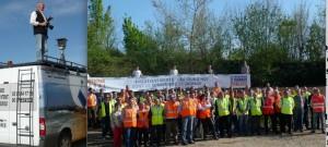 Une soixantaine d'entrepreneurs et salariés des travaux publics de Franche-Comté ont posé - face au photographe haut perché - pour dire aux maires nouvellement élus leur impatience à de nouveaux chantiers.