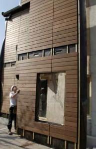 Montage d'une façade.  Photo : I-Tech Bois.