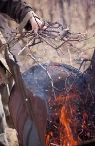 Brûlage des sarments de vigne dans des brouettes à feu.