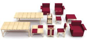 Chaises et fauteuils sont équipés de roulettes et de freins.