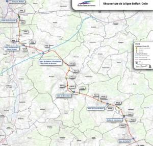 Le trajet de la future ligne ferroviaire Delle-Belfort. ©RFF.  Cliquez sur le plan pour le lire.