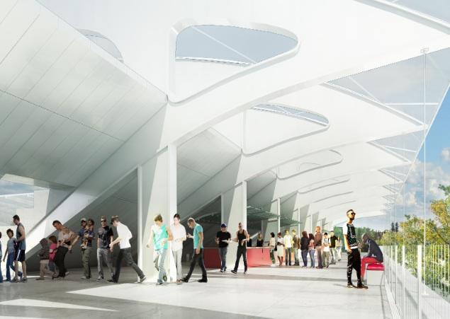 Large ouverture de la tribune du stade côté rue. Jean Guervilly, architecte. © Labtop